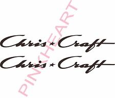 "Chris Craft decal pair chriscraft sticker decals 2"" x 14"" Boat Logo 3 Decals USA"