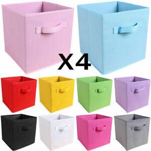 4pcs Foldable Square Canvas Storage Collapsible Folding Box Fabric Cubes Baskets