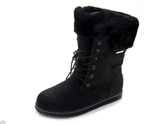 Emu All Weather Shoreline Waterproof Suede Lace Front Boot Black Size 3/36 BNWT