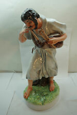 ZSOLNAY FIGURINE MAN DUDA BAGPIPES 16in TALL PORCELAIN STATUE FIGURE HUNGARY