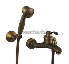 Retro Antique Brass Bathroom Hand Shower Faucet Set Bath Tub Mixer Taps ntf028