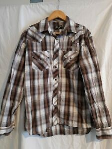 Wrangler Mens Check Long Sleeve Pearl Snap Shirt size medium
