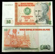 PERU 50 INTIS Banknote World Paper Money UNC Currency Bill Note