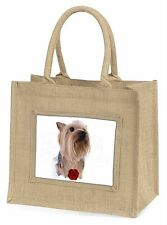 Yorkie with Red Rose Large Natural Jute Shopping Bag Christmas Gift I, AD-Y2RBLN