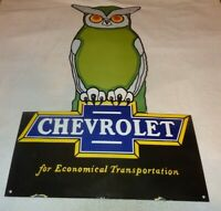 "VINTAGE CHEVROLET OWL CAR & TRUCK DEALER 36"" PORCELAIN METAL GASOLINE & OIL SIGN"