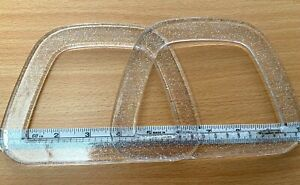 Pair (2) of D Shaped Bag Handles for Knitting or Sewing (Clear with Glitter)