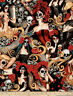 Las Elegantes Bright Alexander Henry Day of the Dead Skull Cotton Fabric BTY