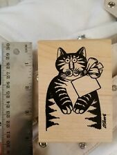 Kliban cat stamp with tag