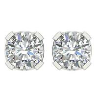 U Prong Set I1 G 1.60Ct Round Cut Diamond Solitaire Stud Earrings 14K Solid Gold