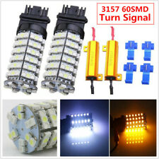 3157 60SMD Dual Color Switch backwards White & Amber Turn Signal LED Light Bulbs