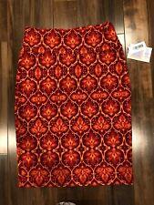 Lularoe LLR Cassie Skirt Pencil Red Burgundy Orange Size Medium