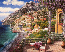 Canvas Print Italy Positano's small yard Oil painting printed on canvas L1572
