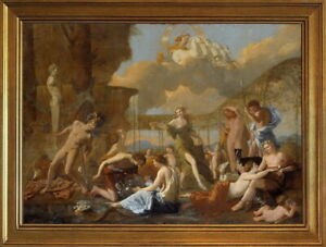 Classic Framed Nicolas Poussin The Empire of Flora Giclee Canvas Print