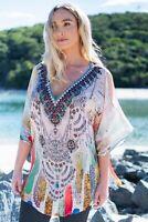 Viscose Heavily Embellished Cold Shoulder Kaftan Top Resort wear Caftan
