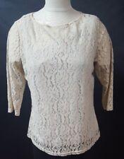 Dialogue Beige Floral Lace Shirt 3/4 Sleeve Lined Size Medium  Light Weight
