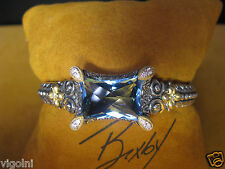 BRACELET BARBARA BIXBY TOPAZ DIAMOND QUEEN MUSE SS 18K CUFF BANGLE DESIGNER