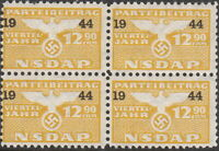 Stamp Germany Revenue Block WWII Fascism War Era Party Dues 1944 1290 MNH