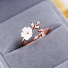Portable Chic Lovely Rose Gold-plated Zircon Branches Shell Flowers Open Ring