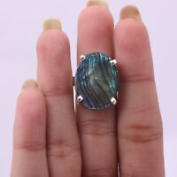 Handmade 925 Solid Sterling Silver Jewelry Abalone Shell Gemstone Ring Size 9