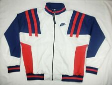 Nike Mens NSW RE-ISSUE ZIP-UP WOVEN TRACK Jacket White/Blue/Red CJ4921-100 SZ M