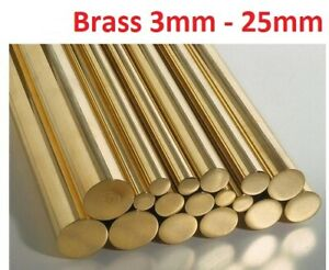 BRASS ROUND BAR ROD CZ121  3mm 5mm 6mm 8mm 10mm 12mm 15mm 20mm 25mm