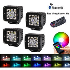 "4x Cree Led Work Light 3"" Cube Pods Fog Spot RGB Halo Color Changing Music Flash"