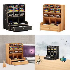 Wooden Stationery Storage Rack Pencils Holder Drawers Pen Pot Table Organizer UK
