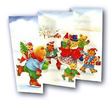 Funny Christmas Card Teddy Bears Ice Staking (e3) £1.54 incl FREE 1st Class p&p