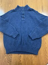 LL BEAN HEAVY COTTON KNIT HENLEY FOUR BUTTON SWEATER PULLOVER SZ XL WARM COZY