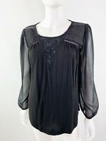 NWT Lucky Brand Sz M Black Long Sleeve Blouse Top with Sheer Sleeves