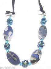 Collar de bisutería color principal azul cristal