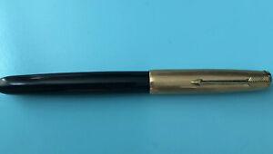 Vintage Black 51 PARKER 1/10 12K Gold Filled Fountain Pen Jeweled Cap