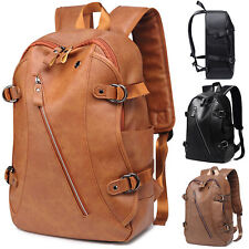 Women Mens Large Rucksack PU Leather Sport Camping Travel School Bags Backpack