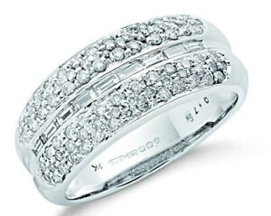 9ct White Gold 0.75ct Baguette Cut Centre Diamond Bombay Ring - UK Jewellers