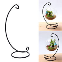 33cm Black Iron Plant Stand Holder for Clear Glass Hanging Vase Home Decor_AU