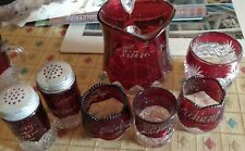 New Listing7 Vintage Ruby red glass 1903 - 1913 salt pepper pitcher toothpick Flashed Glass