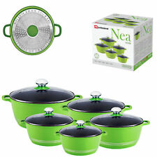 SQ Pro Nea InductionGreen verde 5pc NonStick Ceramic Aluminium Die-Cast Casserol