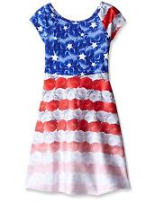 Bonnie Jean 4th July American Flag Patriotic Stars Red Blue Big Girls Dress 4-16
