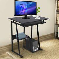 Small Rolling Computer Corner Work Desk Printer Desktop Space Saver Home Office