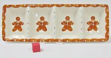 """LE GOURMET CHEF GINGERBREAD MAN DIVIDED SNACK TRAY 17 5/8"""" X 6 1/4"""" CREAM"""