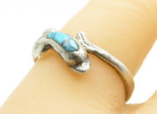 925 Sterling Silver - Vintage Petite Turquoise Dolphin Band Ring Sz 8 - R12030
