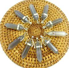 10PC Wholesale gray agate Hexagonal Point Pendant Gemston Jewelry Necklace
