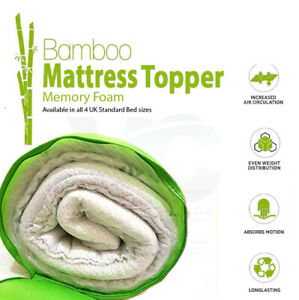 Memory Foam Mattress Topper Bamboo Orthopedic Thick Zipped Cover All Sizes