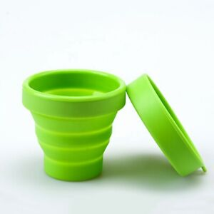 Eco-friendly Green Silicone Collapsible Travel Cup, Foldable Portable Water Mug