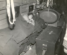 WW2 Photo WWII US Navy Nurse Sleeps on Airplane Flight   World War Two / 1668