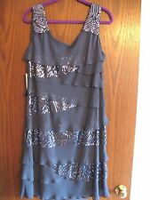 S.L. Fashion Boutique sequin and chiffon gray tank tiered dress sz16W