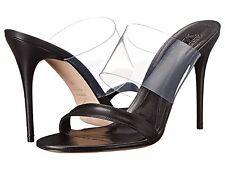 Retail $595 Alexander McQueen Black Leather Sandal Plast S. Cuoio Sz40/10