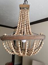 Country French Natural Wood Metal Chandelier Light Beads Beaded Bohemian Cottage