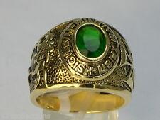 9x7 mm Knights Templar Masonic Mason May Stone Green Emerald Men Ring Size 7