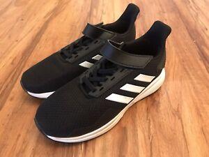 EUC Boys Adidas Duramo 9 C Running Athletic Shoe G26758 Black White US Size 2